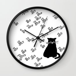 Cat and Birds with Attitude Wall Clock