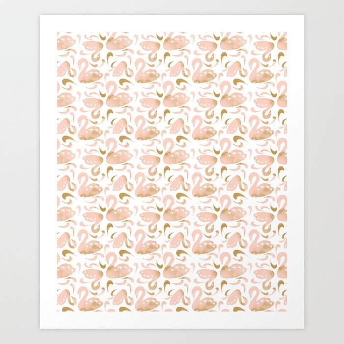 Block Swans Peach and Gold Pattern Art Print