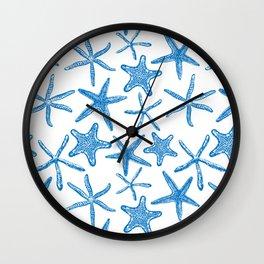 Sea stars in blue Wall Clock
