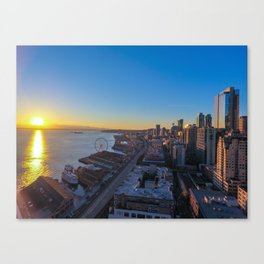 Downtown Seattle Skyline at Sunset 1 Canvas Print