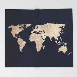 Inverted Rustic World Map Throw Blanket