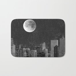 Blood Moon Over Denver Colorado in Black and White Bath Mat