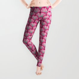 Art Deco Lily, Fuchsia Pink and Silver Gray Leggings