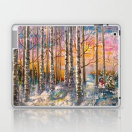 Winter Sunset Landscape Impressionistic Painting With Palette Knife Laptop & iPad Skin