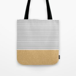 Minimal Gold Glitter Stripes Tote Bag