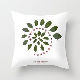 nature mandala... holly leaves, cranberries Throw Pillow