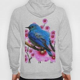 DECORATIVE BLUE BIRD & PINK HOLLYHOCKS VIGNETTE Hoody