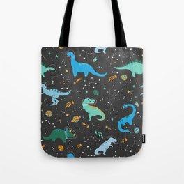 Dinosaurs in Space in Blue Tote Bag