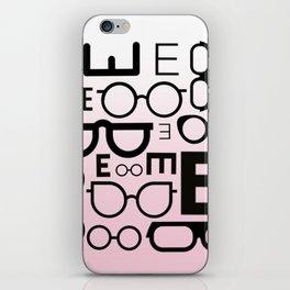 Eye Chart Eyeglasses Pink and Black iPhone Skin
