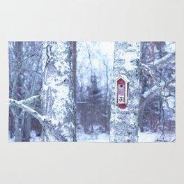 Red Bird House in Winter White Scene #decor #society6 #buyart Rug