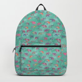 Elephants on Parade Watercolor Green Backpack