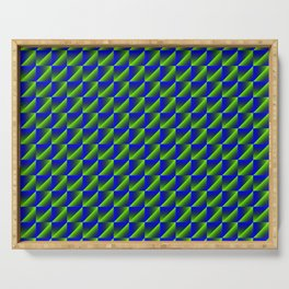 Chaotic pattern of blue rhombuses and green triangles in a zigzag. Serving Tray