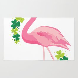 Cool Flamingo With Green Beer Clover St Patricks Day Rug