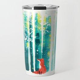 Fox in quiet forest Travel Mug
