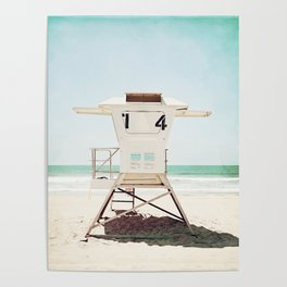 Lifeguard Stand, Beach Photography, San Diego California, Blue Aqua Seashore Ocean Summer Art Poster