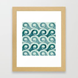 Vintage Waves - Tropical Teal Framed Art Print