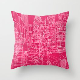 London! Hot Pink Throw Pillow