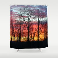 rugby Shower Curtains featuring Sunrise in Rugby by Tiffany Dawn Smith