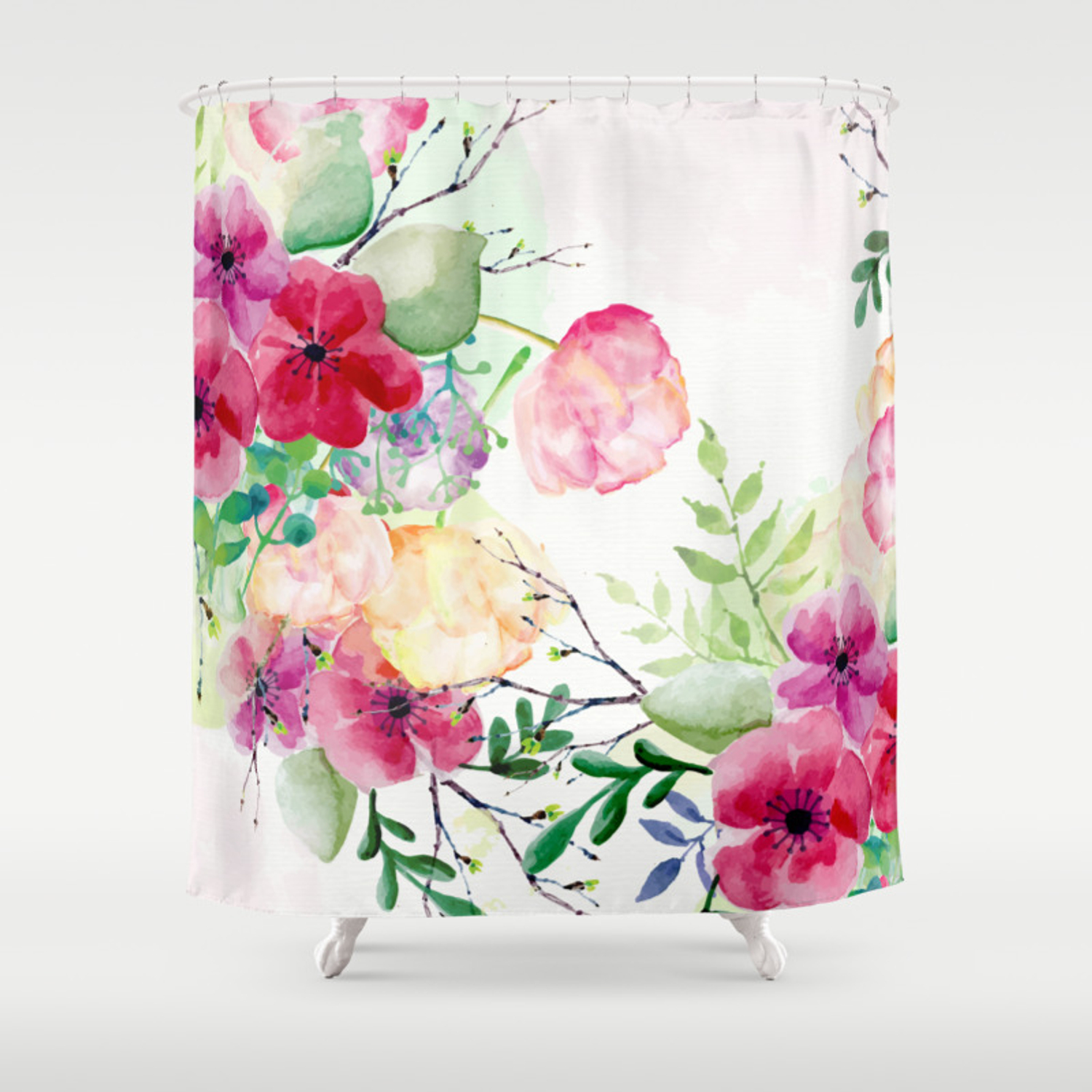 Vintage Flowers Watercolor Floral Painting Shower Curtain By