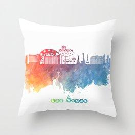Las Vegas Nevada Skyline colored Throw Pillow