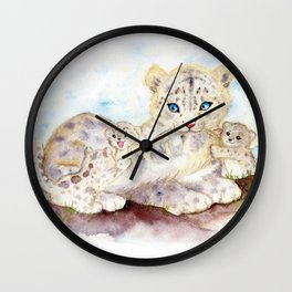 Snow leopard family Wall Clock
