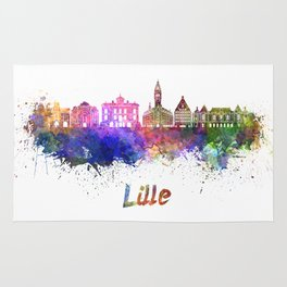 Lille skyline in watercolor Rug