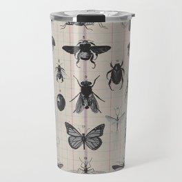 Vintage Insect Study on antique 1800's Ledger paper print Travel Mug