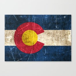 Vintage Aged and Scratched Colorado Flag Canvas Print