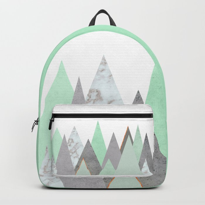 MINT COPPER MARBLE GRAY GEOMETRIC MOUNTAINS Backpack