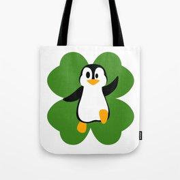 Penguin On 4 Leaf Clover  St. Patricks Day Pun Tote Bag
