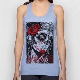 Girl With Sugar Skull, Day of the Dead Unisex Tank Top
