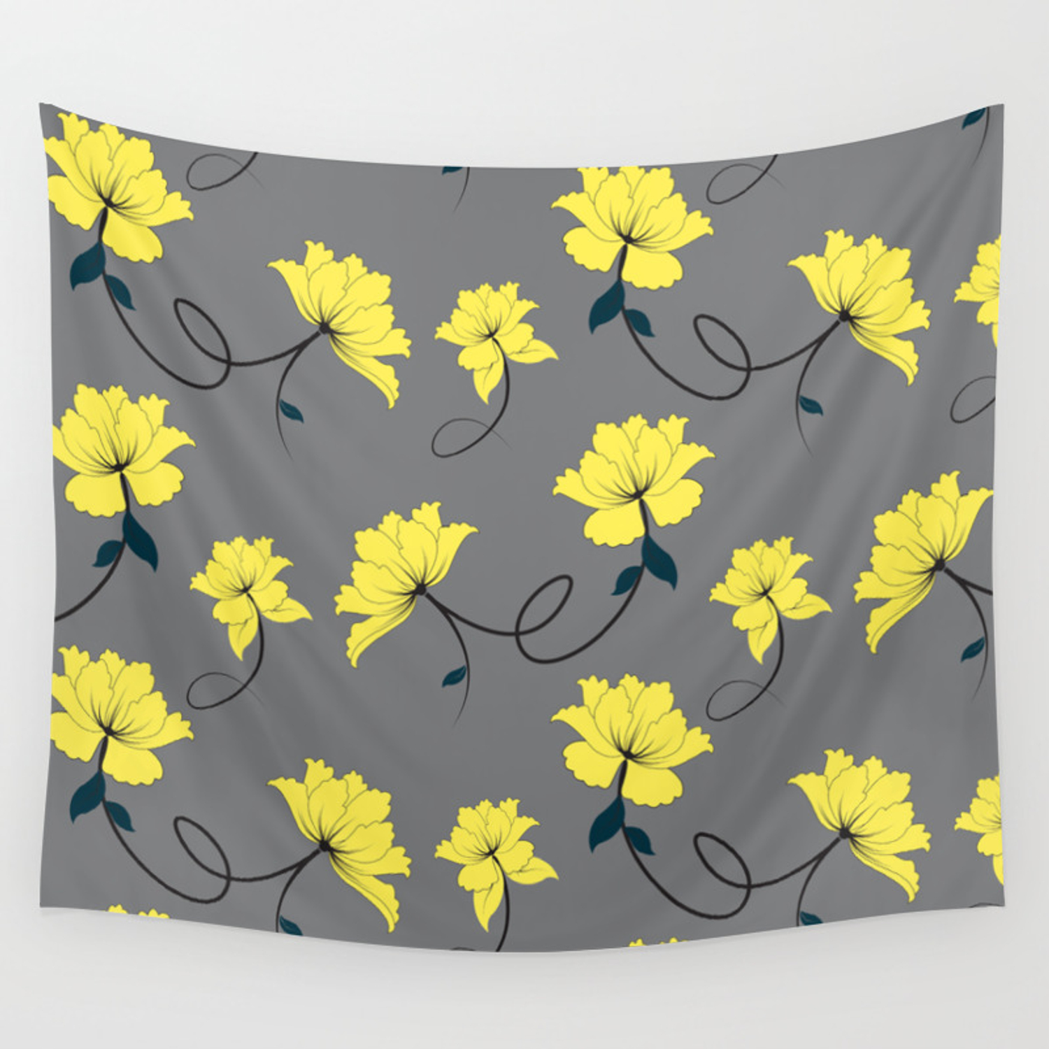 Yellow Flowers On Gray Grey Background Floral Pattern Wall