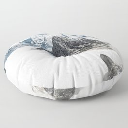 Mountain Tops Above Clouds And Snow Floor Pillow