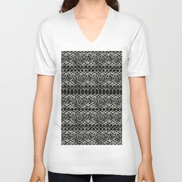 tie dye geometric line in black and white Unisex V-Neck