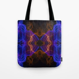 Abstract and symmetrical texture in the form of colorful smoke clouds. Tote Bag