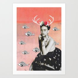The Deer and the Fish Art Print