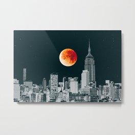 Blood Moon over New York City Skyline Metal Print