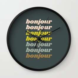 Bonjour in Pretty Pastels Wall Clock