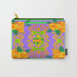 Opulent Golden Rose Bouquets Yellow-Green Purole  Pattern Carry-All Pouch