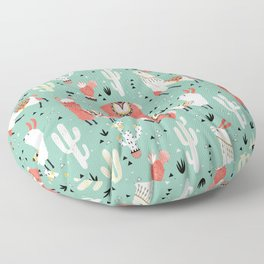Llamas and cactus in a pot on green Floor Pillow