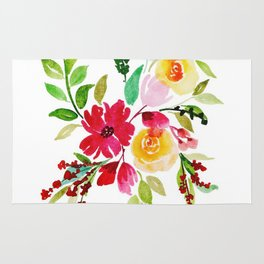 Beautiful Watercolor Floral Element Rug