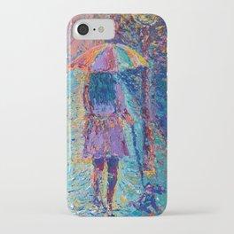 Girl with Rainbow Umbrella - figurative palette knife city landscape Valentines by Adriana Dziuba iPhone Case