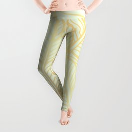 Bohemian Gold Feathers Illustration With White Shimmer Leggings