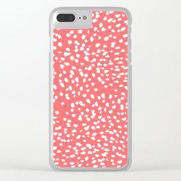 Claudia - abstract minimal coral dot polka dots painterly brushstrokes Clear iPhone Case