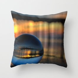 Avila Pier Captured in a crystal ball at sunrise Throw Pillow