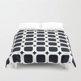 RoundSquares White on Black Duvet Cover