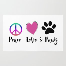 Peace Love & Paws Illustration Rug