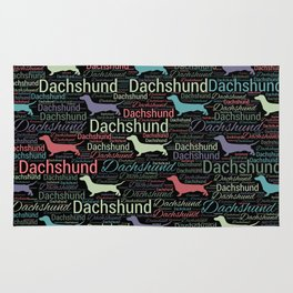 Dachshund silhouette and word art pattern Rug