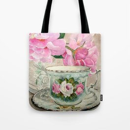 Hand Painted China Tea Cup and Roses Tote Bag