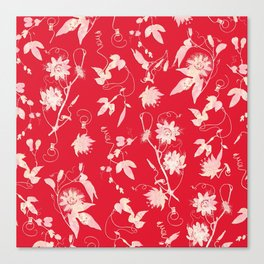 Red Passiflora Floral Pattern Canvas Print